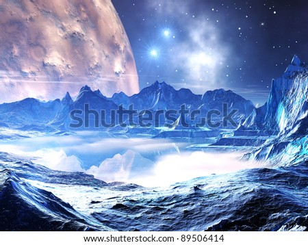 Distant planet in the grip of winter - stock photo