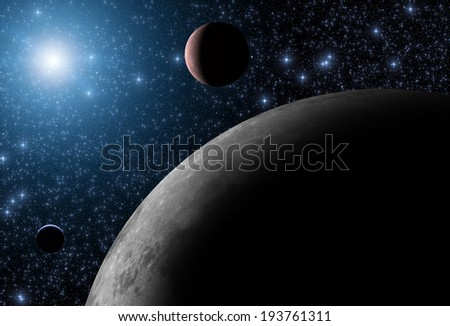 Distant planet system illuminated by the nearest star. Elements of this image furnished by NASA. - stock photo