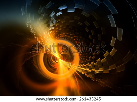 Distant Radiate Energy  Sphere  Emitting  Smoky Rays and Particles - Distant dynamic energy sphere, energy vortex plasma clouds and particles,  space background , abstract illustration  - stock photo