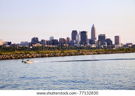 Distant view of downtown Cleveland, Ohio.