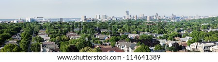 Distant view of downtown Milwuakee - panorama. - stock photo