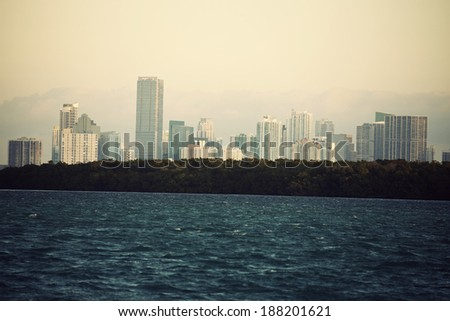 Distant view of Miami - seen from Key Biscayne - stock photo