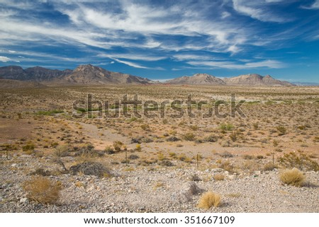 Distant view of Red Rock Canyon in Nevada.