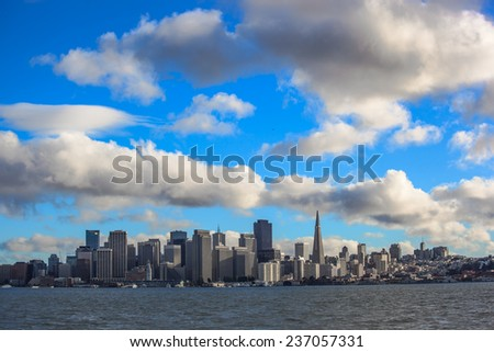 Distant view of San Francisco downtown - stock photo