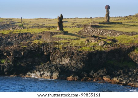 Distant view of Tahai Ceremonial Complex, an archaeological site on Rapa Nui (Easter Island, Isla de Pasqua) in Chilean Polynesia. - stock photo
