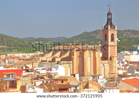 Distant view of the historical district and St Mary church in Sagunto, province of Valencia, Spain  - stock photo