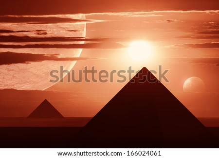 Distant world with several planets and egyptian style pyramids. - stock photo