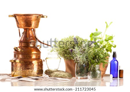 Distiller for oil and hydrolate extraction - stock photo