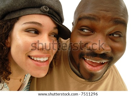 Distorted, fun portrait of two casual young people looking at each other and laughing; isolated on white - stock photo