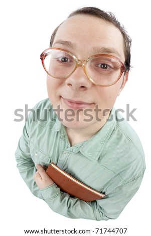 Distorted image of a nerd adult student holding a book close to his chest. Fish-eye lens used. Studio shot. Isolated on pure white background. - stock photo