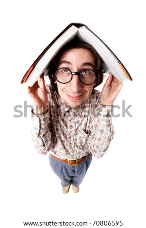 Distorted image of a nerd holding a book over his head