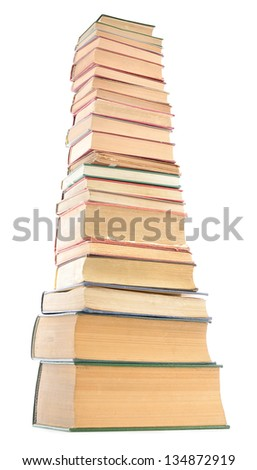 Distorted image of old books tower isolated on white