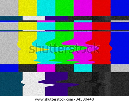 Distorted Television bars signal. Error on the test signal. - stock photo