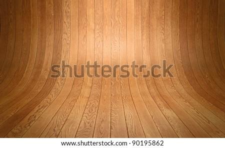 distorted wooden floor planks background - stock photo