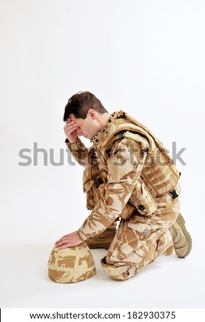 Distraught Soldier - stock photo
