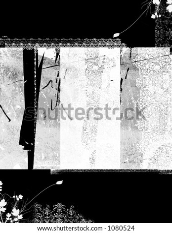 Distressed background of floral elements