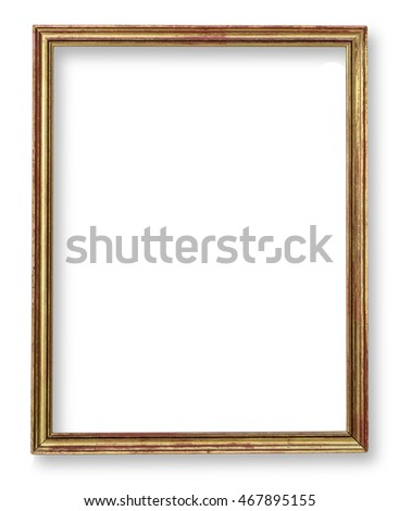 Distressed gold painted picture frame.isolated on white, with clipping path