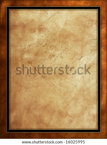 Distressed leather background with black border - stock photo