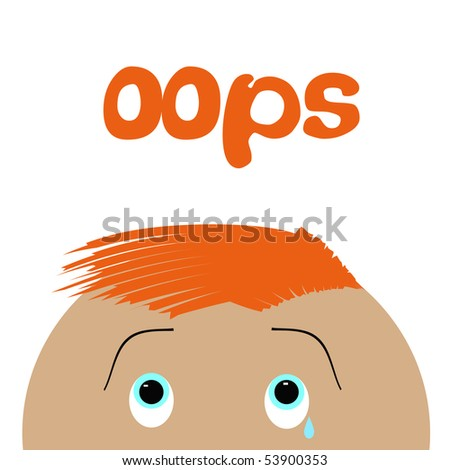 distressed look on a child's face poster illustration - stock photo
