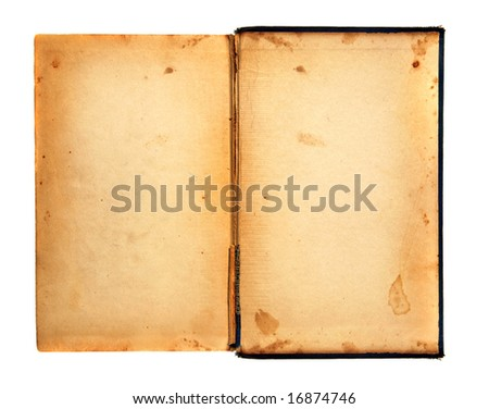 Distressed Stained Old Work Book Open For Your Text or Designs