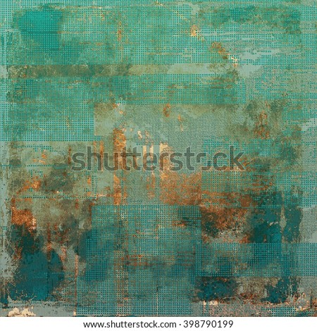 Distressed texture with ragged grunge overlay. Wrinkled background or backdrop with different color patterns: yellow (beige); brown; green; blue; cyan - stock photo
