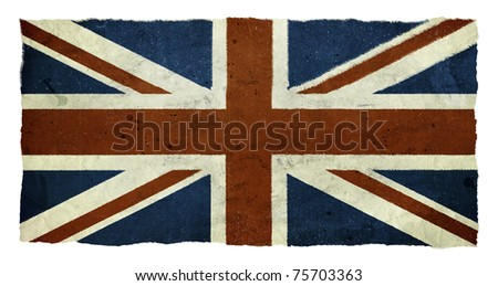 Distressed Union Jack isolated on a white background - stock photo