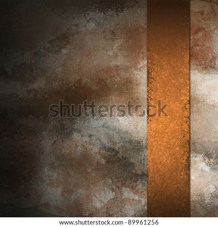 distressed vintage grunge texture of abstract mottled stone colored background in gray and black with brown copper colored ribbon stripe with copy space on border of paper - stock photo