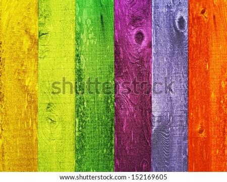 Distressed Vintage Grunge Wood Texture Background Design Color Trend Palette, Orange, Green, Melon, Coral, Powder Blue, Ink Blue - stock photo