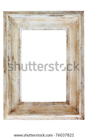 Distressed white painted picture frame, isolated on white background. - stock photo