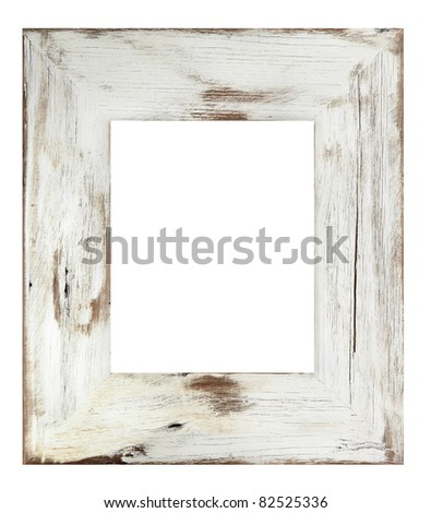 Distressed white painted picture frame.  Weathered white timber. - stock photo