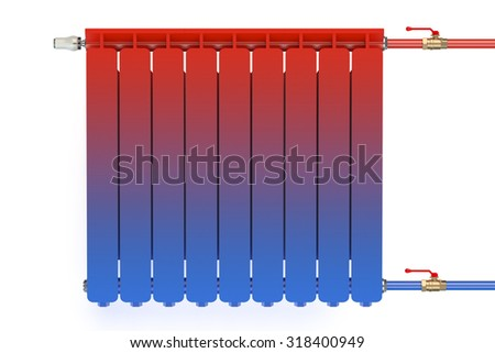 Distribution of heat flow in the radiator isolated on white background - stock photo