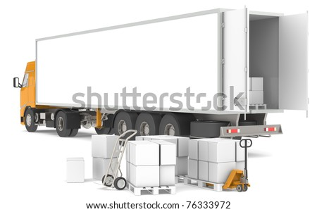 Distribution. Open trailer with pallets, boxes and trucks. Part of warehouse series. - stock photo