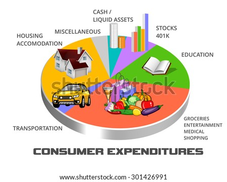 Distribution pie chart of typical consumer spending - stock photo