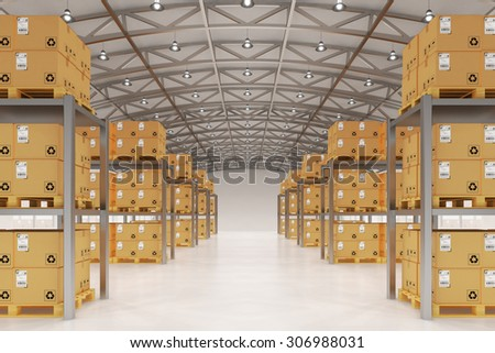 Distribution warehouse logistics, package shipment, freight transportation and delivery concept, cardboard boxes on pallets in storehouse office building interior - stock photo