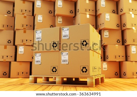 Distribution warehouse, package shipment, freight transportation and delivery concept, cardboard boxes on pallet and stack of parcels behind it on wooden floor in the retail store building