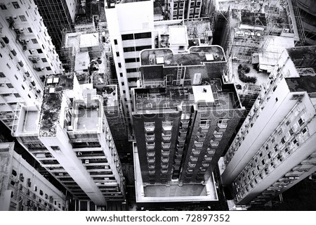 District at Hong Kong, view from skyscraper. Black and white image. - stock photo