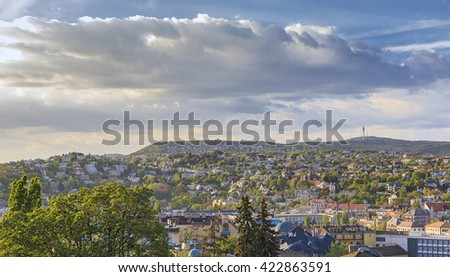 District of Buda in Budapest.The view from the castle hill - stock photo