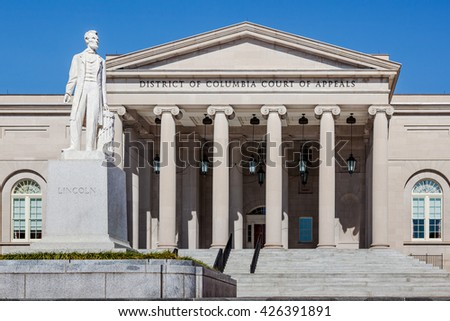 District of Columbia Court of Appeals building with Abraham Lincoln statue - stock photo
