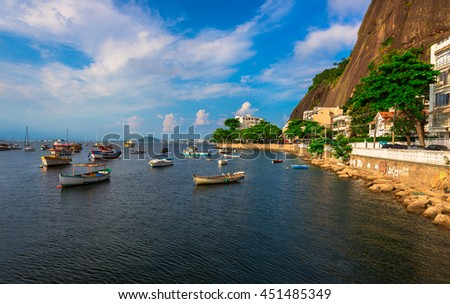 District Urca, Mountain Sugar Loaf and Guanabara bay in Rio de Janeiro. Brazil - stock photo