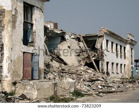 Disturbed building - stock photo