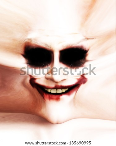 Disturbing clown face. - stock photo