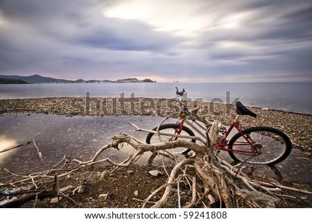 disused bike - stock photo