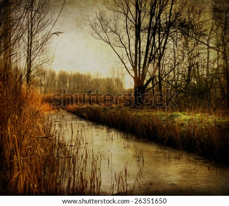 Ditch in Holland - stock photo