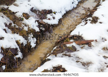 ditch in the snow - stock photo