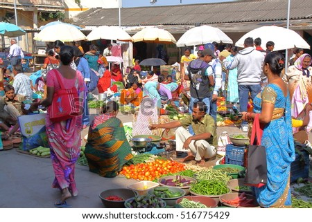 DIU, INDIA - JANUARY 9, 2014: Food market in Diu Island