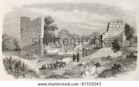 Diugh Kare ruins old view, Tunisia. Created by Crapelet, published on L'Illustration, Journal Universel, Paris, 1860 - stock photo