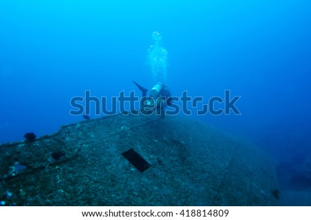Diver and  shipwreck