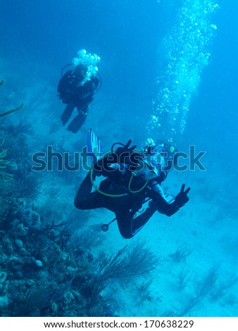 diver-girl and her buddy - stock photo