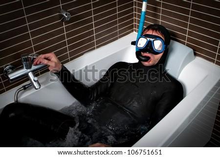 diver in a bath - stock photo