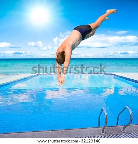 Diver in flight - stock photo